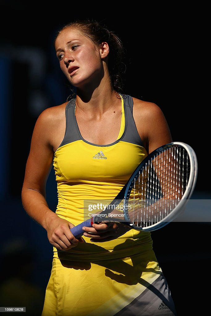 Bojana Jovanovski of Serbia reacts after a point in her fourth round match against Sloane Stephens of the United States during day eight of the 2013 Australian Open at Melbourne Park on January 21, 2013 in Melbourne, Australia.