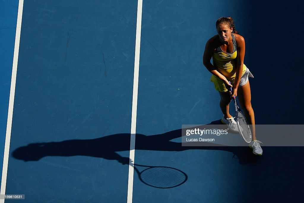 Bojana Jovanovski of Serbia reacts after a shot in her fourth round match against Sloane Stephens of the United States during day eight of the 2013 Australian Open at Melbourne Park on January 21, 2013 in Melbourne, Australia.