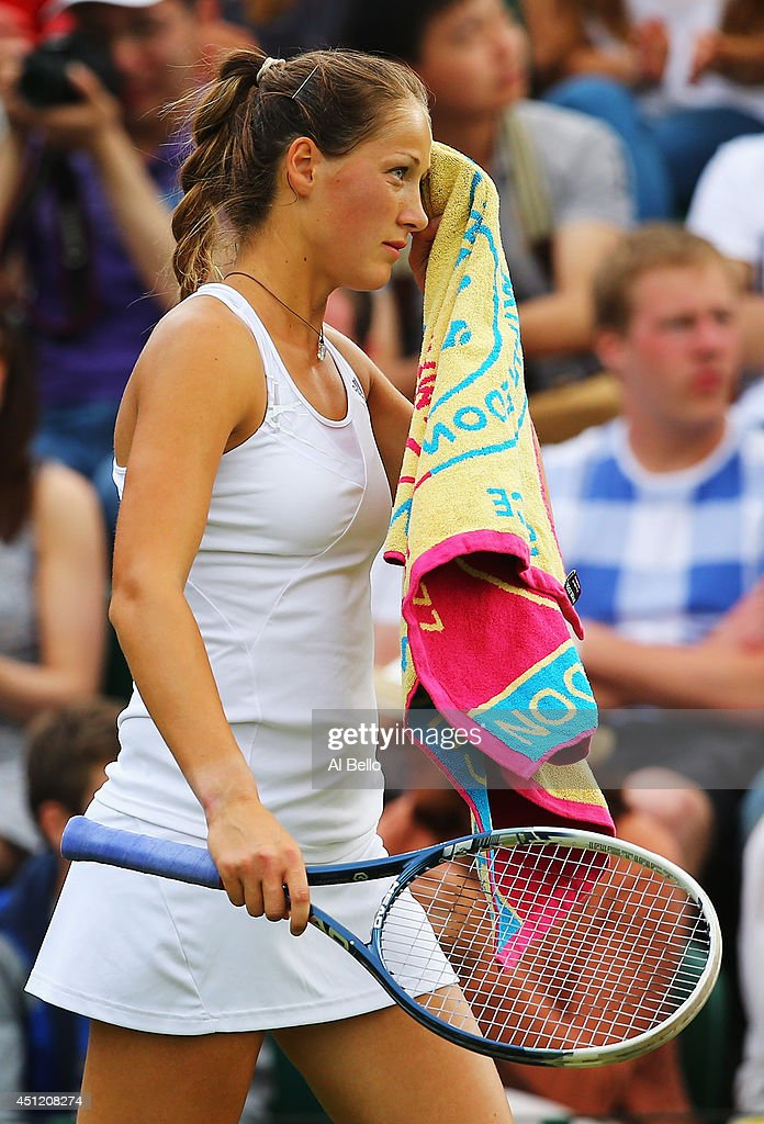 <a gi-track='captionPersonalityLinkClicked' href=/galleries/search?phrase=Bojana+Jovanovski&family=editorial&specificpeople=4836646 ng-click='$event.stopPropagation()'>Bojana Jovanovski</a> of Serbia reacts during her Ladies' Singles second round match against Victoria Azarenka of Belarus on day three of the Wimbledon Lawn Tennis Championships at the All England Lawn Tennis and Croquet Club at Wimbledon on June 25, 2014 in London, England.
