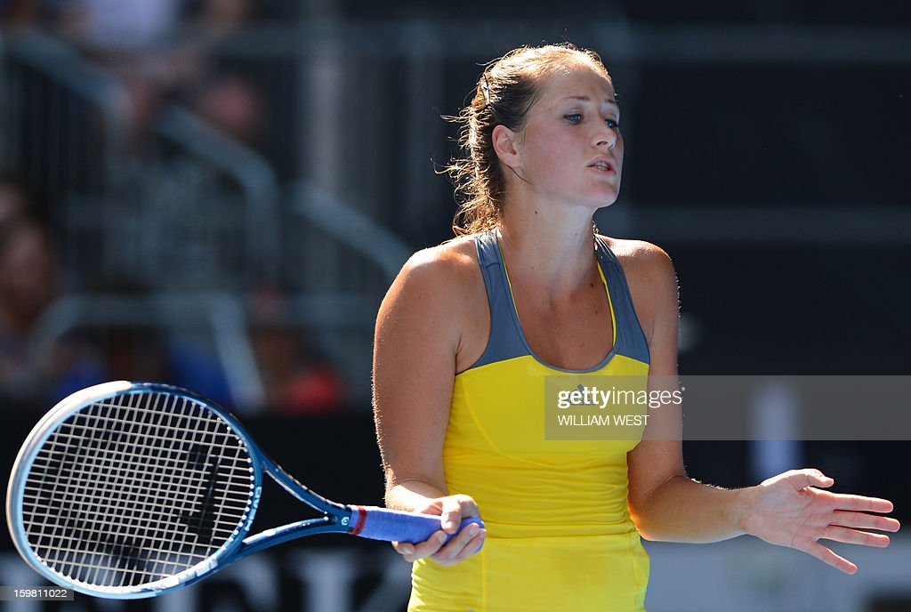 Bojana Jovanovski of Serbia reacts during her women's singles match against Sloane Stephens of the US on the eighth day of the Australian Open tennis tournament in Melbourne on January 21, 2013. AFP PHOTO/WILLIAM WEST IMAGE STRICTLY RESTRICTED TO EDITORIAL USE - STRICTLY NO COMMERCIAL USE