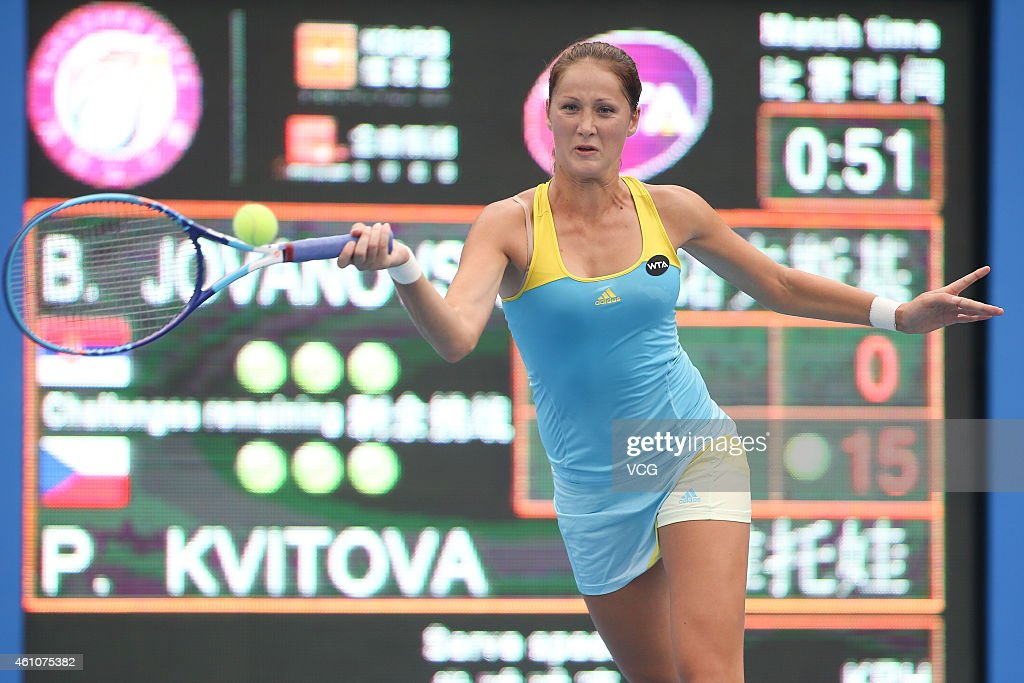 <a gi-track='captionPersonalityLinkClicked' href=/galleries/search?phrase=Bojana+Jovanovski&family=editorial&specificpeople=4836646 ng-click='$event.stopPropagation()'>Bojana Jovanovski</a> of Serbia returns a shot against Petra Kvitova of the Czech Republic on day three of WTA Shenzhen Open at Longgang Sports Center on January 6, 2015 in Shenzhen, Guangdong province of China.