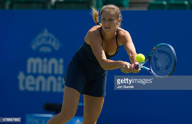 Bojana Jovanovski of Serbia returns a shot during her match against Yanina Wickmayer of Belgium on day four of the WTA Aegon Open Nottingham at...