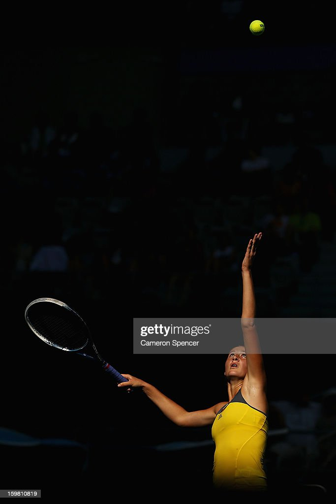 Bojana Jovanovski of Serbia serves in her fourth round match against Sloane Stephens of the United States during day eight of the 2013 Australian Open at Melbourne Park on January 21, 2013 in Melbourne, Australia.