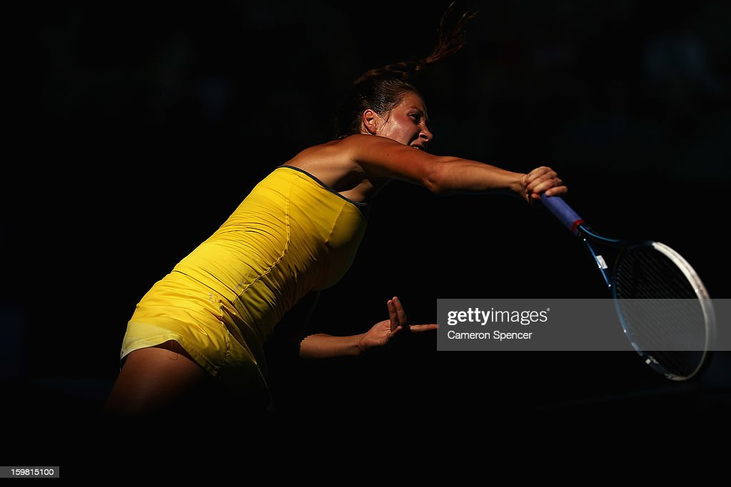 <a gi-track='captionPersonalityLinkClicked' href=/galleries/search?phrase=Bojana+Jovanovski&family=editorial&specificpeople=4836646 ng-click='$event.stopPropagation()'>Bojana Jovanovski</a> of Serbia serves in her fourth round match against Sloane Stephens of the United States during day eight of the 2013 Australian Open at Melbourne Park on January 21, 2013 in Melbourne, Australia.