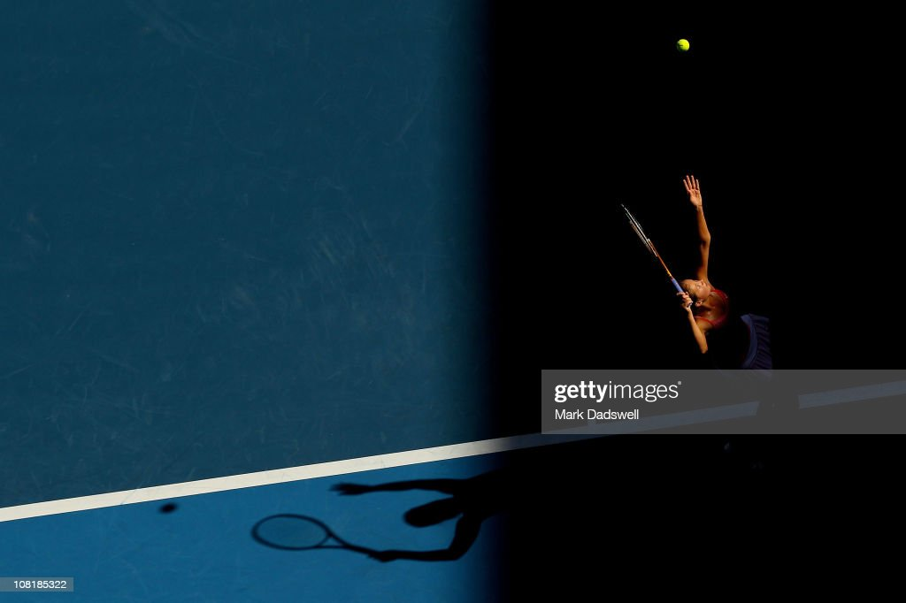 <a gi-track='captionPersonalityLinkClicked' href=/galleries/search?phrase=Bojana+Jovanovski&family=editorial&specificpeople=4836646 ng-click='$event.stopPropagation()'>Bojana Jovanovski</a> of Serbia serves in her second round match against Vera Zvonareva of Russia during day four of the 2011 Australian Open at Melbourne Park on January 20, 2011 in Melbourne, Australia.