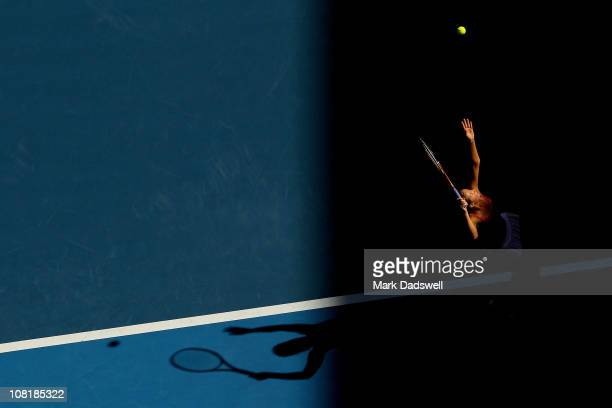 Bojana Jovanovski of Serbia serves in her second round match against Vera Zvonareva of Russia during day four of the 2011 Australian Open at...