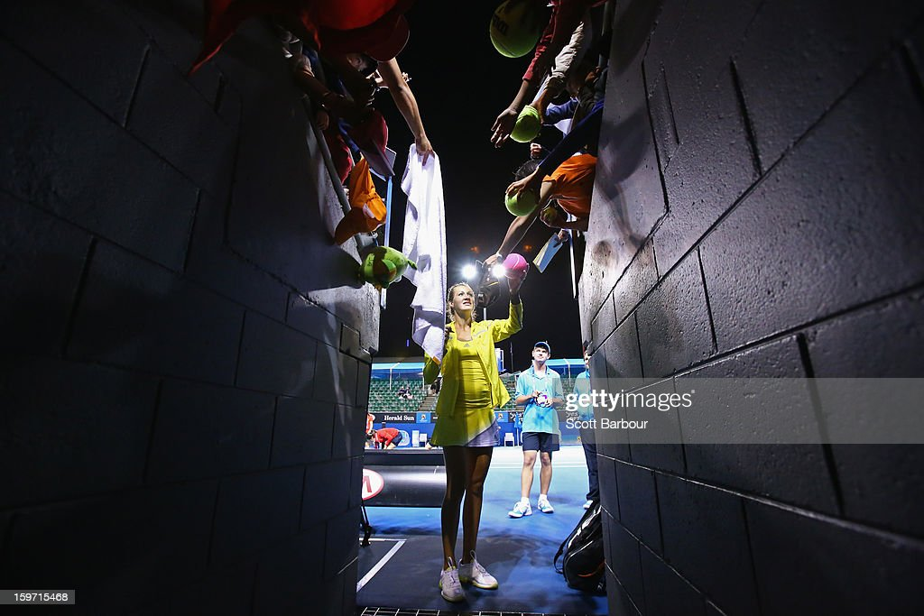 Bojana Jovanovski of Serbia signs autographs for fans after winning her third round match against Kimiko Date-Krumm of Japan during day six of the 2013 Australian Open at Melbourne Park on January 19, 2013 in Melbourne, Australia.