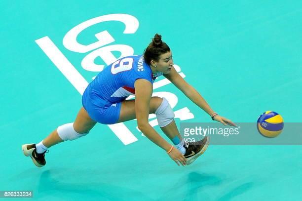 Bojana Milenkovic of Serbia serves the ball during the group match of 2017 Nanjing FIVB World Grand Prix Finals between Serbia and Italy at Nanjing...