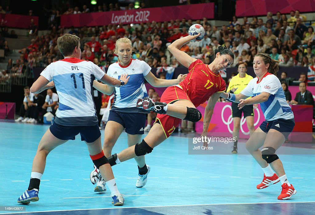 Bojana Popovic of Montenegro scores a goal in the Women's Handball preliminaries Group A - Match 5 between Montenegro and Great Britain on Day 1 of the London 2012 Olympic Games at the Copper Box on July 28, 2012 in London, England.