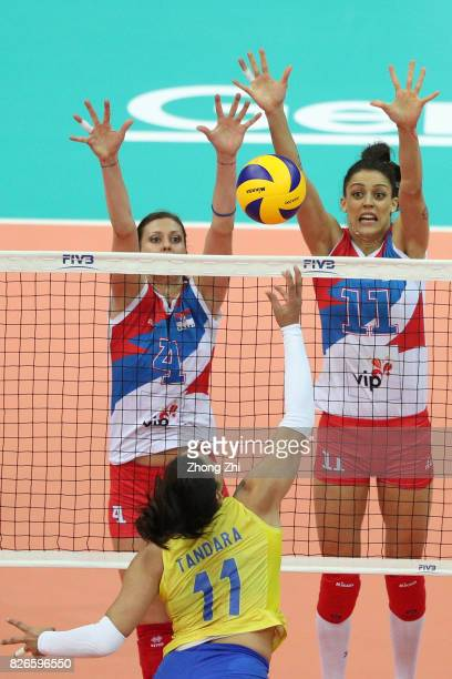 Bojana Zivkovic and Stefana Veljkovic of Serbia in action during the semi final match between Serbia and Italy during 2017 Nanjing FIVB World Grand...