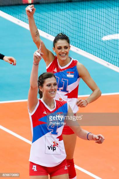 Bojana Zivkovic of Serbia celebrates during 2017 Nanjing FIVB World Grand Prix Finals between Brazil and Serbia on August 5 2017 in Nanjing China