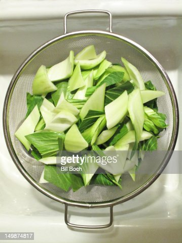Bok Choy washed in sink : Stock Photo