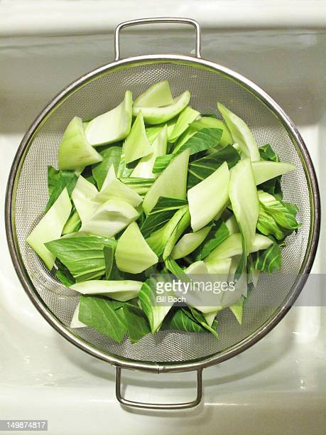 Bok Choy washed in sink