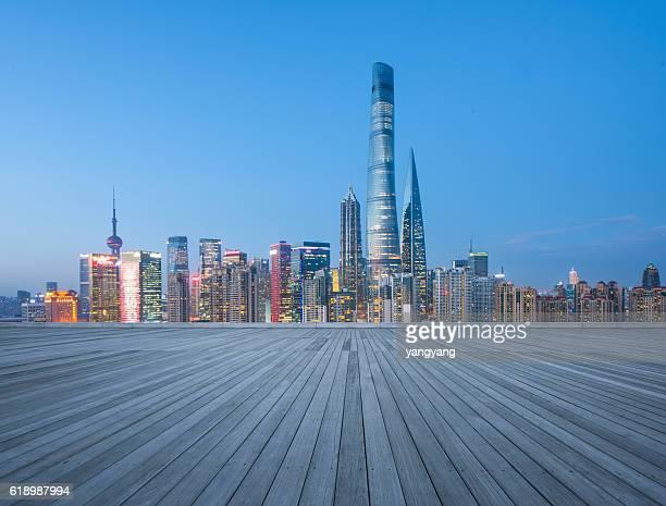 bokeh background of shanghai Cityscape