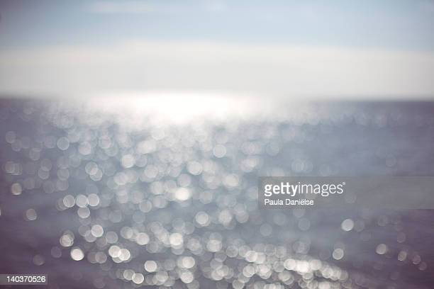 Bokeh light effect over sea