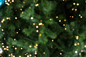 Bokeh of Light on Christmas tree on blurred background