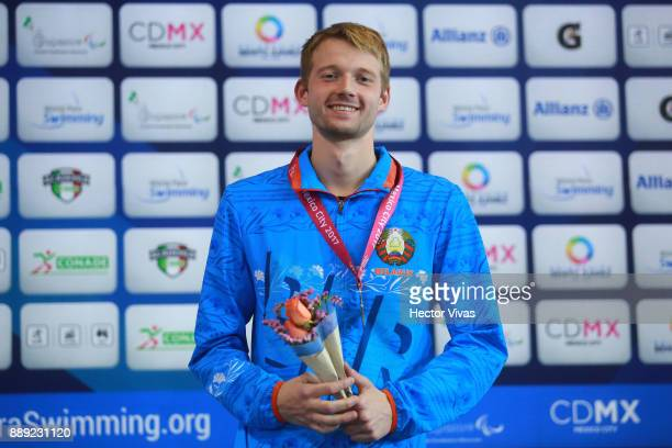 Boki Ihar of Belarus Gold Medal in men's 100 m Freestyle S13 celebration during day 7 of the Para Swimming World Championship Mexico City 2017 at...