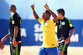 Bokinha of Brazil celebrates his team's second goal during the FIFA Beach Soccer World Cup Portugal 2015 Group C match between Brazil and Mexico at...