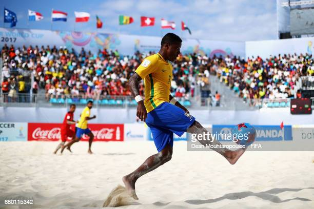 Bokinha of Brazil in action during the FIFA Beach Soccer World Cup Bahamas 2017 final between Tahiti and Brazil at National Beach Soccer Arena at...