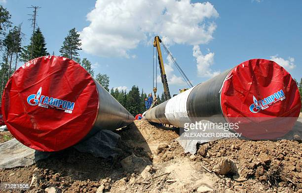 A crane installs segments of the North European Gas pipeline 23 June 2006 in the region of Leningrad The 47billion euro project managed by Russian...