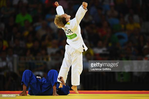 Bokyeong Jeong of Korea celebrates after defeating Dayaris Mestre Alvarez of Cuba during the women's 48kg contest on Day 1 of the Rio 2016 Olympic...