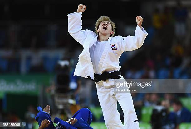 Bokyeong Jeong of Korea celebrates after defeating Dayaris Mestre Alvarez of Cuba during the Women's 48 kg Semifinal of Table A Judo contest on Day 1...