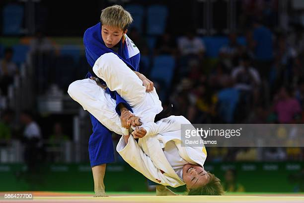 Bokyeong Jeong of Republic of Korea competes against Urantsetseg Munkhbat of Mongolia in the Women's 48 kg Judo on Day 1 of the Rio 2016 Olympic...