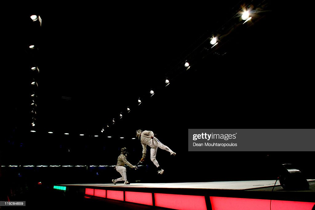 Bolade Apithy (R) of France and Aron Szilagyi of Hungary battle in the Senior Mens Sabre Semi Final during the 2011 European Fencing Championships held at the English Institue of Sport on July 16, 2011 in Sheffield, England.