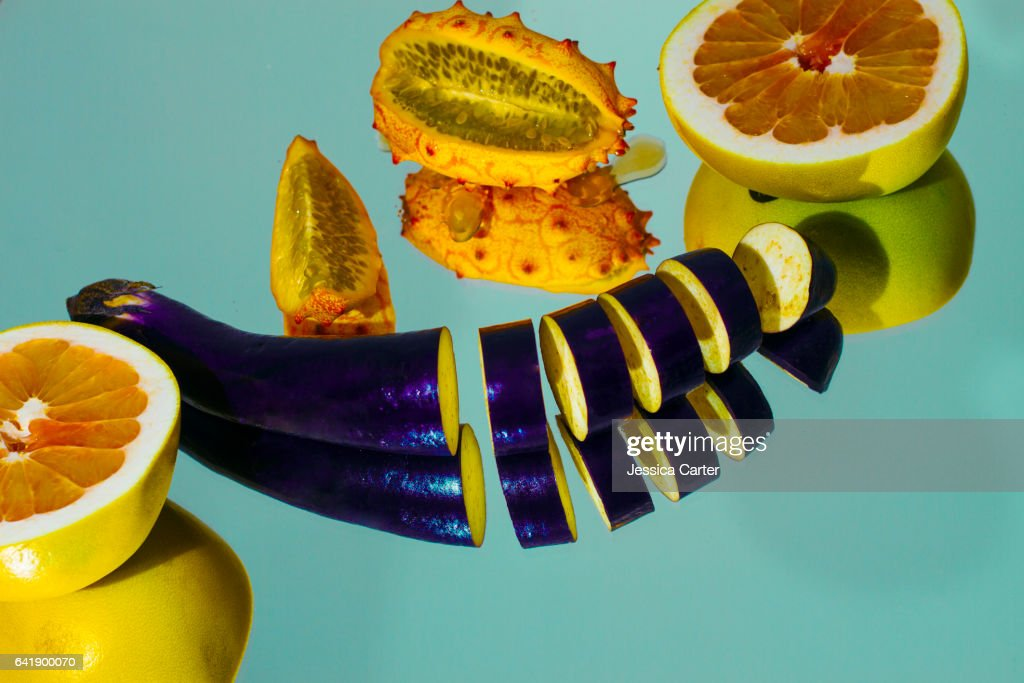 Bold Color Exotic Fruits and Vegetables : Stock Photo