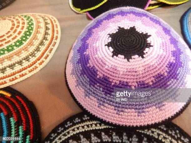 Bold Colours, close-up of purple kipa / yarmulke, Jerusalem