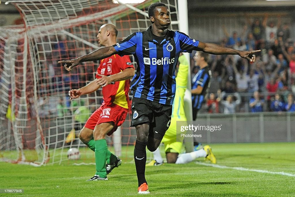 Boli Bolingoli Mbombo of Club Brugge celebrates scoring a goal during the Jupiler Pro League match between KV Oostende and Club Brugge KV on August 4, 2013 in Oostende, Belgium. (Photo by Peter De Voecht/Photonews