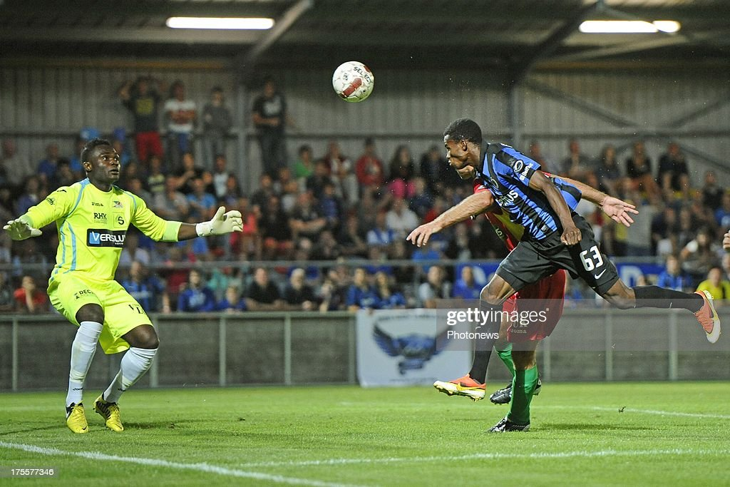 Boli Bolingoli Mbombo of Club Brugge scores during the Jupiler Pro League match between KV Oostende and Club Brugge KV on August 4, 2013 in Oostende, Belgium. (Photo by Peter De Voecht/Photonews
