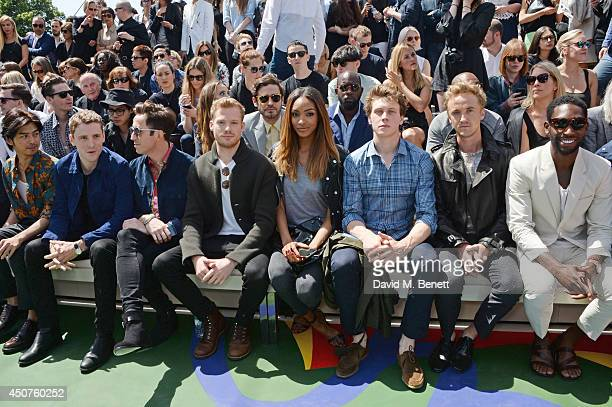 Bolin Chen George Barnett Nick Grimshaw Sam Reid Jourdan Dunn George MacKay Tom Felton and Tinie Tempah sit in the front row at Burberry Prorsum SS15...