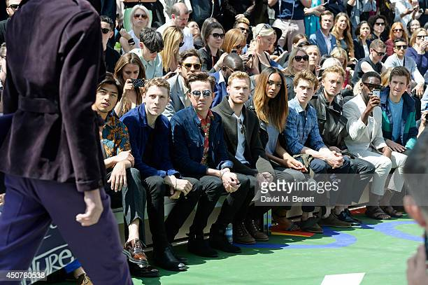 Bolin Chen George Barnett Nick Grimshaw Sam Reid Jourdan Dunn George MacKay Tom Felton Tinie Tempah and Greg James attend the front row at Burberry...