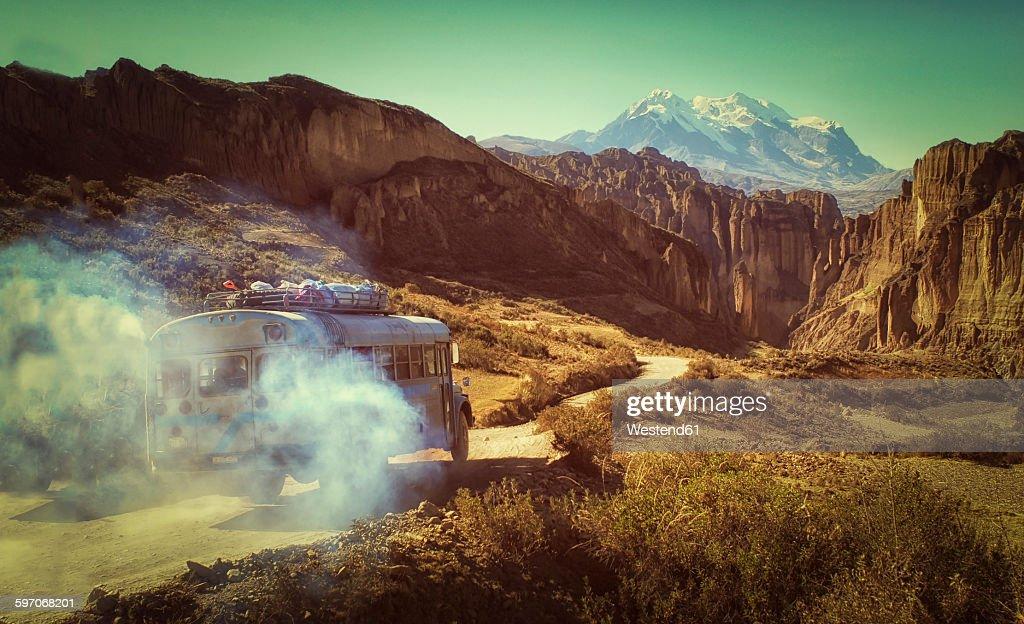 Bolivia, Altiplano, Cordillera Real, Bus in the Cordillera Real mountain range