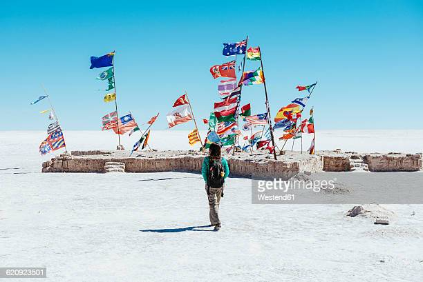 Bolivia, Atacama, Altiplano, Salar de Uyuni, Flags from all countries