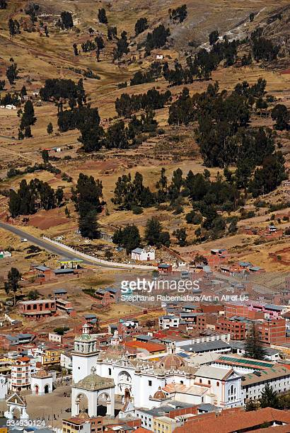 Bolivia, Copacabana, overview of the township of Copacabana, with the bright white Basilica home of