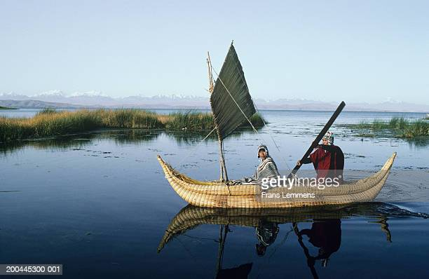 Bolivia, Copacabana, Titicaca Lake in Andes, fisherman in reed boat