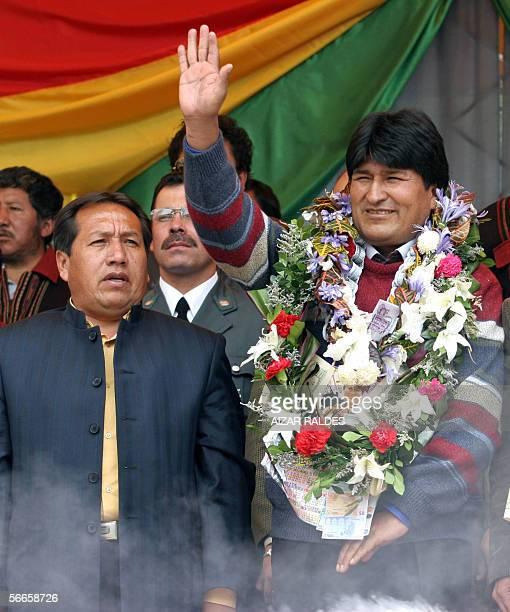 El presidente de Bolivia Evo Morales y el presidente del congreso Santos Ramirez participan de la inaguracion de alasitas el 24 de enero de 2006...