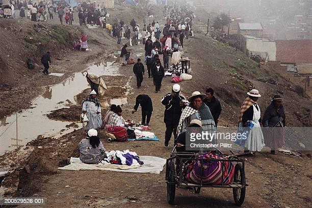 Bolivia, La Paz, El Alto, people at market on hill top