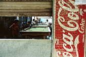 Bolivia, Llallagua, pool bar, view through window