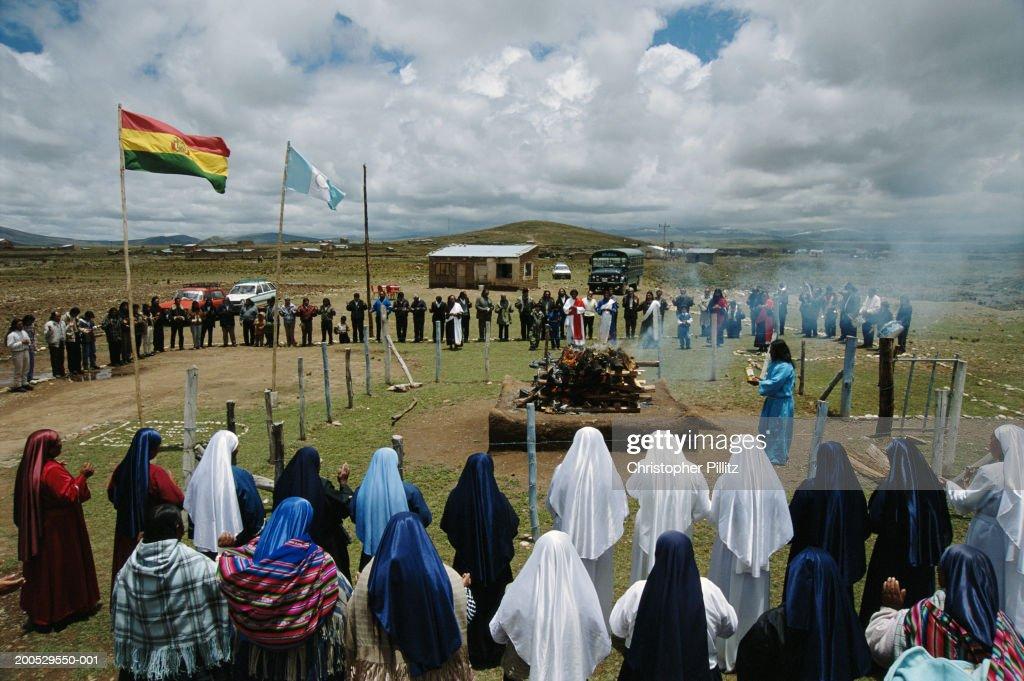 Bolivia, members of 'Israel' performing religous ceremony : Stock Photo