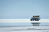 Bolivia, Potosi, bus crossing Salar de Uyuni