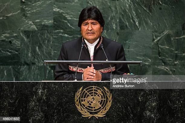 Bolivia President Evo Morales speaks at the 69th United Nations General Assembly at United Nations Headquarters on September 24 2014 in New York City...