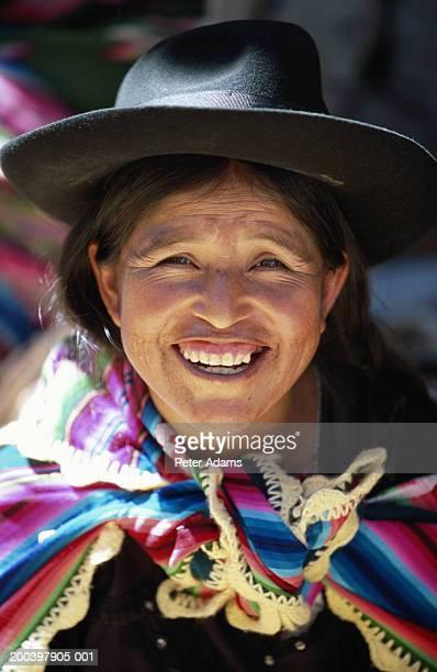 Bolivia, Tarabuco, woman smiling, portrait