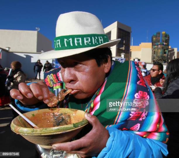 Bolivian indigenous man eats a traditional soup dish named Kalapari during the celebration of the AndeanAmazonic New Year 5525 on June 21 2017 in...