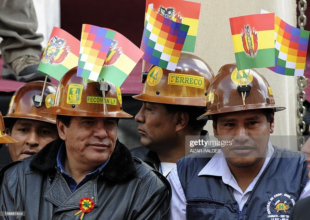 Bolivian miners attend celebrations for the third anniversary of the Plurinational State of Bolivia in La Paz, on January 22, 2013. AFP PHOTO /Aizar Raldes