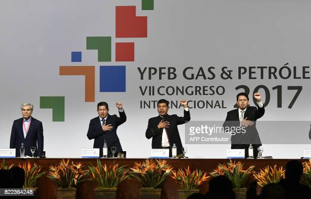 Bolivian Minister of Hydrocarbons and Energy Luis Alberto Sanchez Bolivian Minsiter of Foreign Affairs Fernando Huanacuni Mamani and Bolivian oil and...