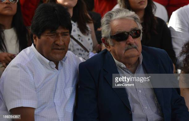 Bolivian Persident Evo Morales Ayma and Uruguayan Pesident Jose Mujica during a meeting to support Hugo Chavez at Miraflores Presidential Palace on...