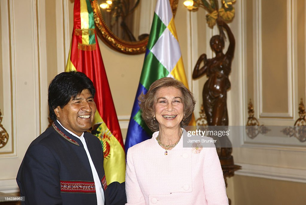 Bolivian President <a gi-track='captionPersonalityLinkClicked' href=/galleries/search?phrase=Evo+Morales&family=editorial&specificpeople=272981 ng-click='$event.stopPropagation()'>Evo Morales</a> and <a gi-track='captionPersonalityLinkClicked' href=/galleries/search?phrase=Queen+Sofia+of+Spain&family=editorial&specificpeople=160333 ng-click='$event.stopPropagation()'>Queen Sofia of Spain</a> meet in the Governors Palace on October 16, 2012 in La Paz, Bolivia. Spanish and Bolivian governments signed an agreement to allow the public display in Bolivia of coins minted in Potosi that were part of the treasure discovered in the wreck of the frigate Our Lady of Mercy. This ship was sunk by British warships off Portugal in 1804. It was discovered and its treasure (over 500,000 coins and other artefacts) salvaged by US company Odyssey Marine Exploration in 2007. US courts in Florida upheld a Spanish claim for ownership of the treasure in February 2012 after a lengthy dispute. Bolivia had requested that the coins found in the treasure that were minted in Potosi be returned to Bolivia.